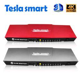 Tesla inteligente USB HDMI KVM Switch 4 puertos USB KVM HDMI Switch Soporte 3840 * 2160 / 4K * 2K IR Extra USB 2.0 Muchos mouse de computadoraKeyKeyboard