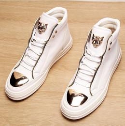 spike stud sneakers 2019 - Luxury White Dandelion Sneakers New Elevator Runway Spike Creepers Skate Stud Rivet Men Shoes Italy Brand European Metal
