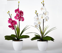 Chinese  Led Blossom Orchid Flower Light 7pcs Warmled With 2 Aa Battery Pot Blossom Orchid Flowers With Buds Silk Home Decoration manufacturers