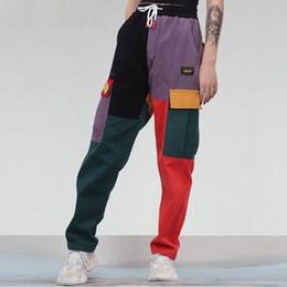 d5a72c9a09 Corduroy Color Block Patchwork Bolsillos Cargo Harem Pants 2018 Hombres  Mujeres Harajuku Hip Hip Cotton Jogger Pants Pantalones