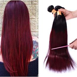 99j Hair Extensions 24 Australia - Brazilian Ombre Straight Human Hair 4 Bundles Dark Red 1B 99J Burgundy Brazilian Virgin Hair Weave 100% Red Human Hair Extensions