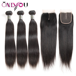 China Brazilian Straight Virgin Human Hair Bundles 3 Bundles with 4x4 Top Lace Closure Cheap Wet Weave Remy Human Hair Extensions Drop Shipping supplier cheap straight brazilian human hair suppliers