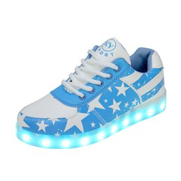 Round fluoRescent lights online shopping - Ghost step USB charging light shoes colorful LED luminous shoes Lovers fluorescent shoes Precise sewing thread T074