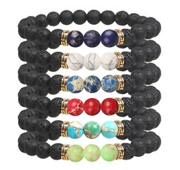 Wholesale Best selling Unisex chakra energy bracelets natural lava stone bracelets mm colorful beads bracelets Fashion Jewelry Crafts