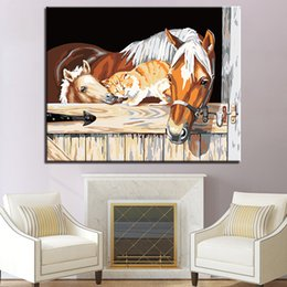 picture cartoon cat NZ - Look Forward To Warm Horses And Cat DIY Painting By Numbers Kits Coloring Oil Pictures On Canvas Unique Gift Living Room Framed