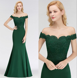 Wholesale 2018 Dark Green Off The Shoulder Mermaid Long Bridesmaid Dresses Lace Applique Wedding Guest Maid of Honor Dresses Real Image BM0065