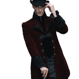 c3401aeec1a Steampunk Winter Jacket Men Outwear Black Red Long Sleeve Men s Gothic Windbreakers  Mens Softshell Court Royal Coats And Jackets