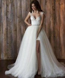 wedding dress short removable train NZ - Detachable Train Wedding Dresses Backless Cap Sleeve Beaded Lace Tulle Removable Skirt Bridal Gowns Custom Made A-Line Wedding Dress