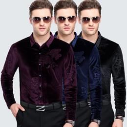 Purple Mens Black Floral Shirt Canada - New Design 2016 Mens Autumn & Winter High Quality Long Sleeve Floral Shirt Male Casual Business Gold Velvet Dress Shirts