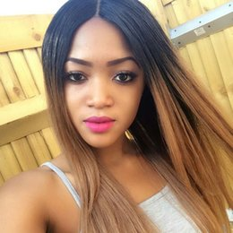 Silky Straight Ombre Wig Australia - 100% unprocessed aaaaaa remy virgin human hair ombre color long silky straight full lace wig for women