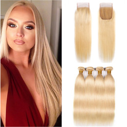 $enCountryForm.capitalKeyWord Australia - Straight #613 Blonde Front Lace Closure 4x4 with Weaves 4Bundles of Blonde Virgin Peruvian Human Hair Wefts with Top Closure 5Pcs Lot