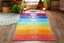 rainbow mat 2019 - 20pcs Bohemia Wall Hanging India Mandala Blanket 7 Chakra Colored Tapestry Rainbow Stripes Travel Boho Beach Towel Yoga