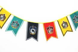 Discount cosplay flags - 12 Harry Potter Banners 3M Lenght Gryffindor Slytherin Ravenclaw College Flag Cosplay Flags Party Home Hanging Decor Ban