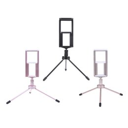 portable aluminum stand 2019 - Mini Portable Phone Tripod Aluminum Lightweight Three Legs Tablet Stand Table Tops Desktop Tripods Stabilizer for Live B