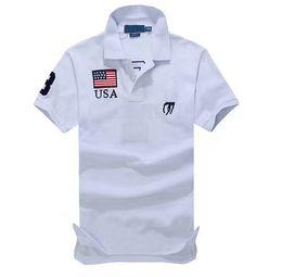 Small Short men online shopping - New Small Horse Solid Short Sleeve Summer Cotton Men Womens National Flag Shirt Size