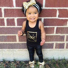 $enCountryForm.capitalKeyWord NZ - INS Explosion Models Kid Girls' Suits Summer Sleeveless Hot Stamping Black Tops Fashion Sleeveless Shirt with Leather Pants
