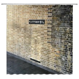 Wall Curtains UK - Hot Selling Platform 9 3 4 Shower Curtains Retro Brick Wall Bathroom Decor Accessories 69 x 70 Inch Waterproof Polyester Home Bath Curtain