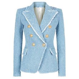 Tassel fringe jackeT online shopping - HIGH STREET New Fashion Designer Blazer Women s Double Breasted Lion Buttons Tassel Fringe TBlazer Jacket