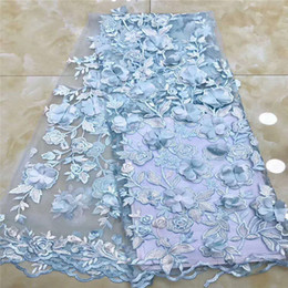 Wholesale Latest Powder Blue Embroidered African French Tulle Lace Nigerian Lace Fabrics d Lace Fabric High Quality