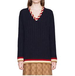 828b415e2 Woman Wool crochet knit sWeaters online shopping - Navy Blue Deep V Collar  Pullover Women Brand