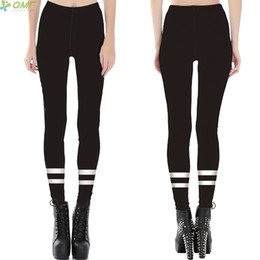 Discount pink grey white leggings - All-Match Black Stripes Sports Yoga Leggings Fitness Jogging Women Compression Trousers Simple Design Style Gym Pants Ti