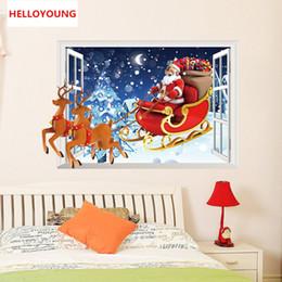 $enCountryForm.capitalKeyWord Australia - Creative personality Santa Claus 3D fake windows Wall Stickers Home Decorative Waterproof Wallpapers
