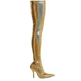 Venta al por mayor de US4-11 Womens punta estrecha Stilettos tacón alto sobre la rodilla muslo Botas altas Slim Sexy strech Lentejuelas Bling Gold Sliver zapatos brillantes