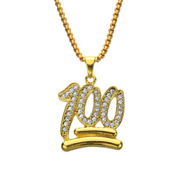 online shopping Emoji Logo Hip Hop Crystal Pendants Necklaces Men Women Jewelry Gifts Gold Bling Rhinestone Crystal Chokers Chains