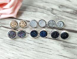 $enCountryForm.capitalKeyWord Australia - 5 pairs 10mm Round Shape Stone Earrings,Natural druse crystal Titanium Druzy Gem stone Stud Earrings ER347