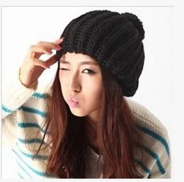 Wholesale New style cap candy color fashion wool ball cap ear knitted hat Korean hat L541