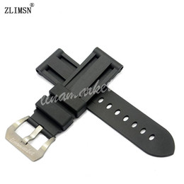 Discount panerai watch band strap 22mm - Watch Bands for PANERAI 24mm (Buckle 22mm) Mens Black Diving Silicone Rubber Watchbands Black Red BANDS Strap Buckle Rel