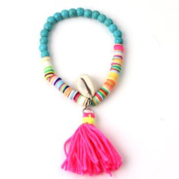 Polymer Bracelets NZ - whole saleBohemia Style Beach Sea Shell Bracelets Polymer Clay CCB Elastic Bead Tassel Bangles