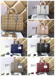 Wholesale 2019 Luxury Quality Brand design Lady Large Plaid Messenger Bag Genuine Patent leather Plaid Tote Handbag Lambskin with Charms Miss Chain