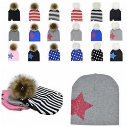 Street Children Cap NZ - 19 design Children Detachable Pom Pom cotton Baby hat Infant Cap beanie for boys Winter Warmer Outdoor Hats Star Striped KKA5843