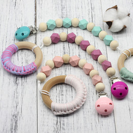 Pink Pacifier Clip Canada - Wooden Pacifier Clips Non-toxic Soother Clips Baby Pacifier Holder Teething Toy Attache Sucette Dummy Clip