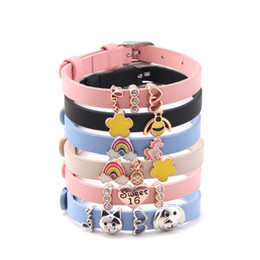 $enCountryForm.capitalKeyWord NZ - SANSHOOR Colorful 8mm Leather Bracelet with Rainbow Unicorn Cat Dog Sweet 16 Charms for Kid's Teenagers Girls as a Gift