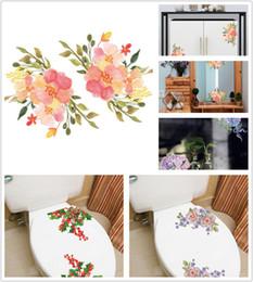 Venta al por mayor de 2018 nuevas decoraciones navideñas Flores WC Artes de pared calcomanías Calcomanías Pegatinas extraíbles para baño refrigerador refrigerador ventana de vidrio