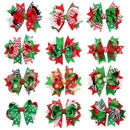 Girl hair zebra online shopping - Christmas Baby Hairpins Barrettes Ribbons Pinwheel Bows Dots Zebra Striped Snowflake Designer Girls Clips Hair Accessories Princess Hairpin