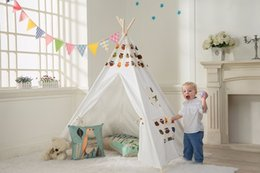 Indian Tipi Tent Cartoon Owl Children Play Tent Kids Teepee White One Window Children Playhouse Toy House Tents For Kids & Kids Teepee Tents Online | Kids Teepee Tents for Sale
