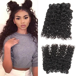 Brazilian virgin hair factory price online shopping - 10A Grade Brazilian Water Wave Virgin Hair Bundles Remy Human Hair Weaves Natural Black Factory Price