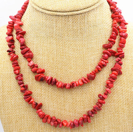 "red coral fashion jewelry Canada - Handmade amazing new 5x8mm natural red coral free form gravel DIY necklace 35"" fashion jewelry 2pc lot"