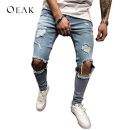e93bced3e4f Oeak Ripped Pencil Jeans Cowboy Pants with Holes Man Tight Jeans for Men  Denim Skinny Male Trousers pantalon mezclilla hombre