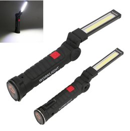 Magnetic flashlights online shopping - COB LED USB Rechargeable Work Light Magnet Flashlight with Hook Torch Lamp Light Magnetic Hanging Hook Lamp For Outdoor KKA4882