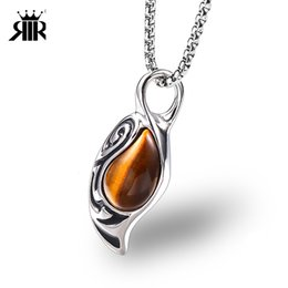 Eye Shaped Pendants Australia - RIR Cat Eyes Stone Pendant Necklace Mens Black Stone Water Drop Shaped Luck Amulet Jewelry In Stainless Steel Tiger Eye
