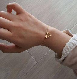 $enCountryForm.capitalKeyWord Australia - Flat Triangle Cone diamond Bracelet Dainty Cut Out Subulate Bracelets Gold Silver Geometric Polygon Layering Triangles Bracelets
