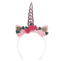 Toddler girl hair bows online shopping - Birthday Party Baby Hoop Hair Band Infant Flower Toddler Bow Headband Girls Party Accessories Unicorn Headwear xm jj