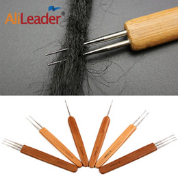 hair extension tool crochet hook NZ - 3Pieces Professional Wood Handle Hair Extensions Weaving Crochet Needle Double Dreading Hook Dreadlock Tools For Braid Craft