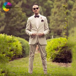 $enCountryForm.capitalKeyWord NZ - Beige Slim Fit Men Suits Groom Wear Wedding Tuxedos Terno 2 Pieces (Jacket+Pants) Bridegroom Blazer Costume Homme Best Man Prom