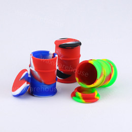 Oil Barrel Drum NZ - Wholesale price 26 ml oil drum shape wax containers custom logo colorful oil barrel container silicone dab jar FDA approve