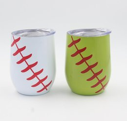 China 9oz Egg Cup Double Layer Tumbler Mug Powder Coated Stainless Steel Beer Wine Vacuum Insulated cup baseball Mug suppliers